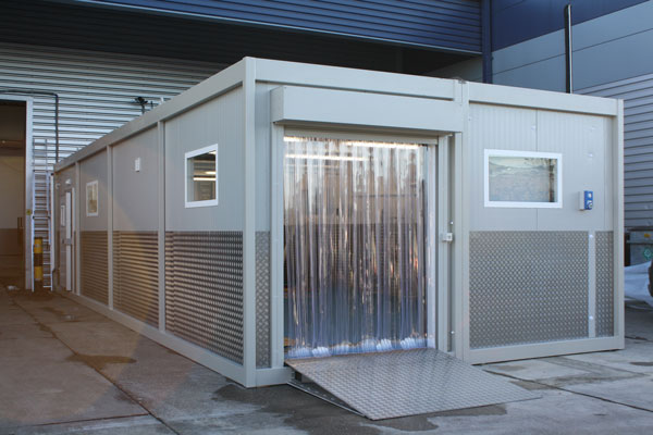 Chilled storage, with roller shutter door for easy product movement
